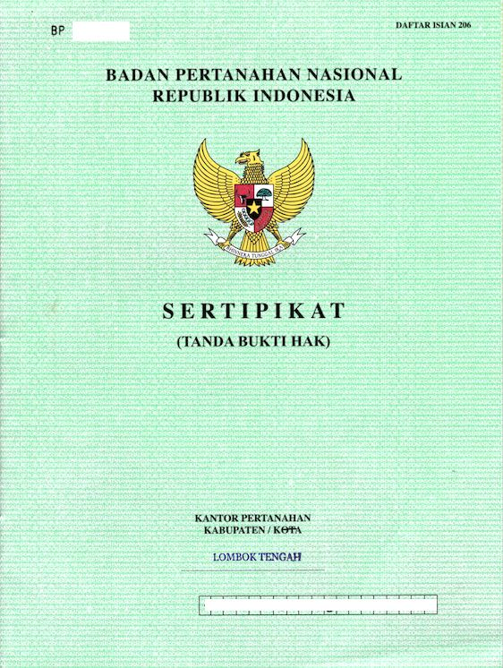 Lombok property & land legalised receipt
