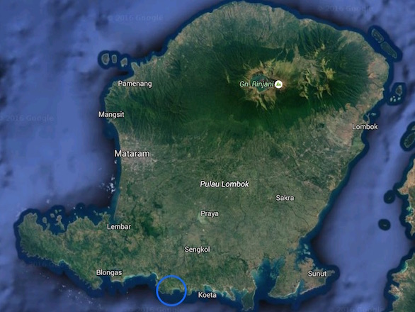 Lombok overview with Tampah land marked up